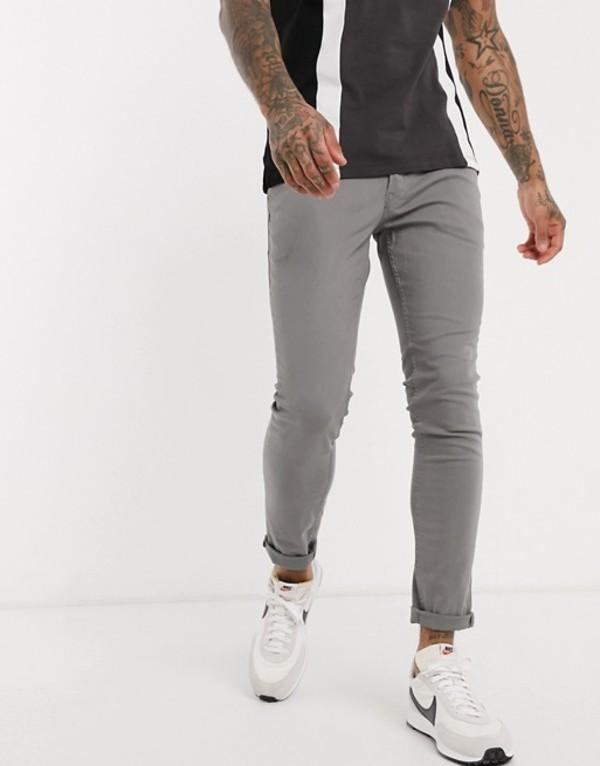 ジャック アンド ジョーンズ メンズ カジュアルパンツ ボトムス Jack & Jones Intelligence skinny fit 5 pocket pants in light gray Gray