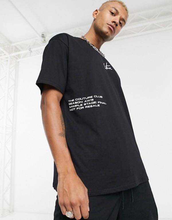 ザ クチュール クラブ メンズ Tシャツ トップス The Couture Club oversized t-shirt in black with logo label Black