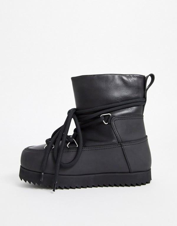 アンドアザーストーリーズ レディース ブーツ・レインブーツ シューズ & Other Stories lace-up chunky snow boots in black Black