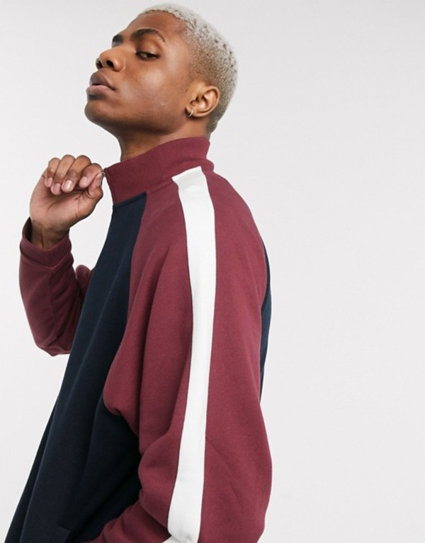 エイソス メンズ ジャケット・ブルゾン アウター ASOS DESIGN track jacket with color block sleeve in navy & burgundy Navy