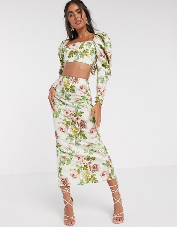 エイソス レディース スカート ボトムス ASOS EDITION midi skirt in romantic floral print Multi