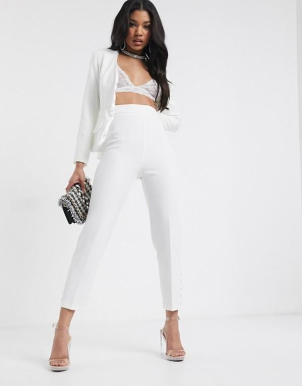 ミスガイデッド レディース カジュアルパンツ ボトムス Missguided Peace + Love button detail pants in white Ivory