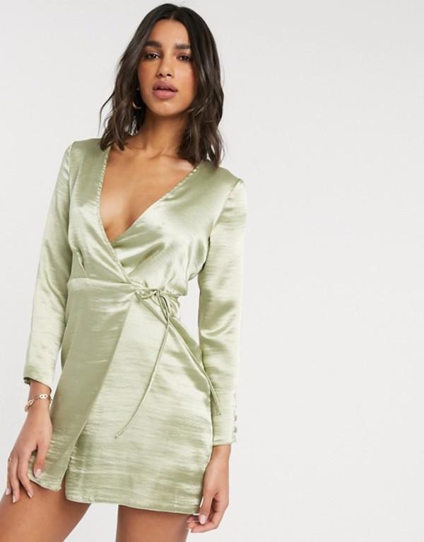 エイソス レディース ワンピース トップス ASOS DESIGN wrap mini dress in high shine satin Pistachio