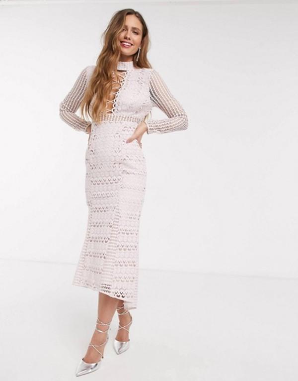 エイソス レディース ワンピース トップス ASOS DESIGN long sleeve lace peplum midi dress with lace up detail in light pink Light pink