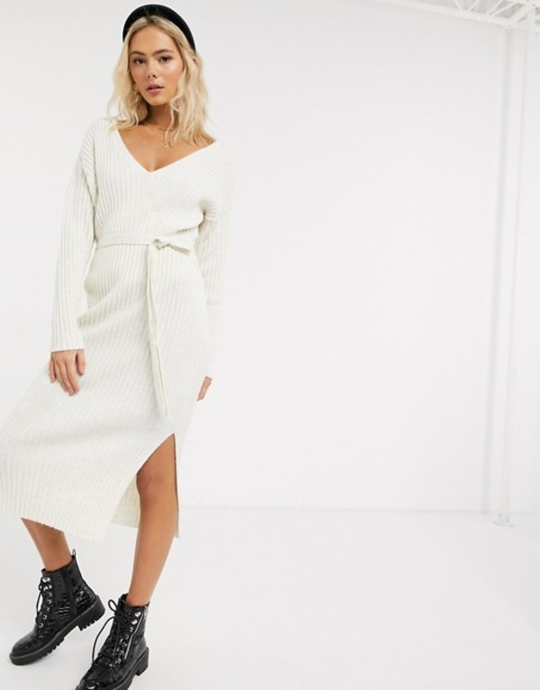 エイソス レディース ワンピース トップス ASOS DESIGN knitted wrap midi dress with belt detail Cream
