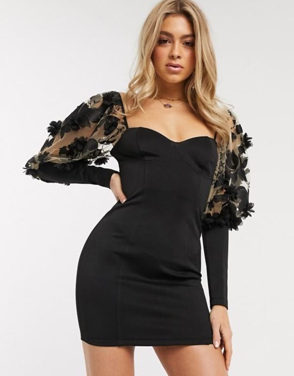 エイソス レディース ワンピース トップス ASOS DESIGN power puff floral applique cupped mini dress Black
