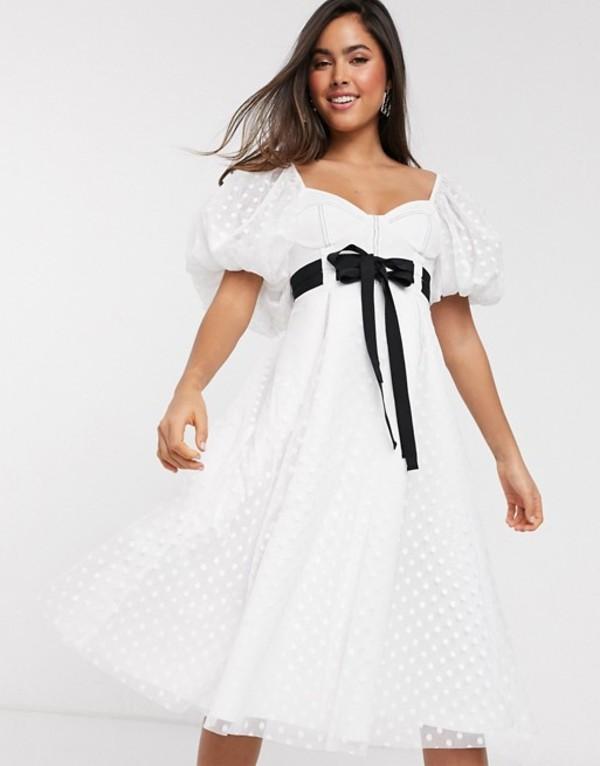 エイソス レディース ワンピース トップス ASOS DESIGN sweetheart neck dobby midi prom dress with double tie belt White