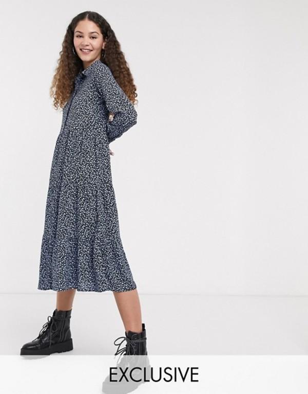 モンキ レディース ワンピース トップス Monki Pearl ditsy floral print trapeze shirt dress in blue Black floral