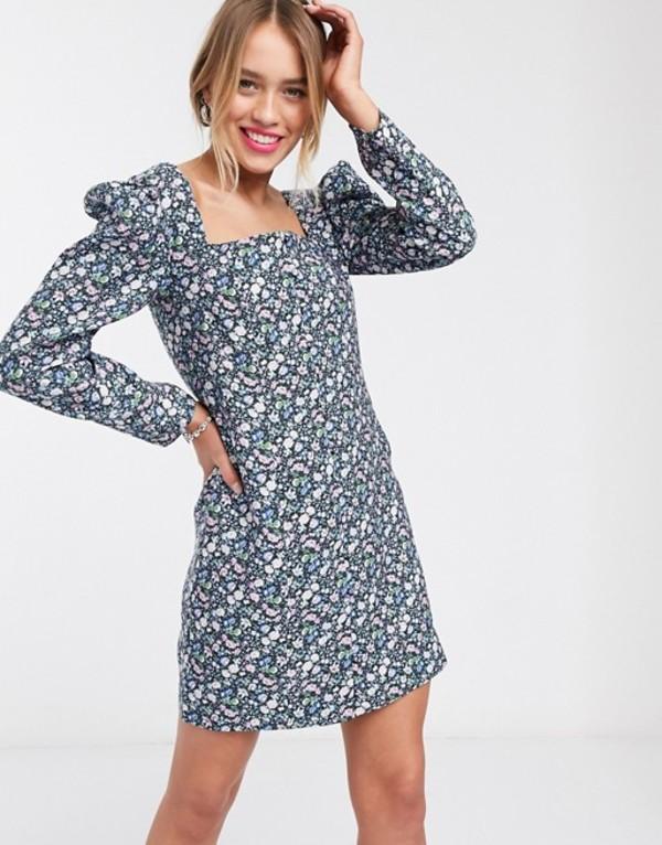 アンドアザーストーリーズ レディース ワンピース トップス & Other Stories bold floral puff sleeve mini dress in multi Multi flower aop