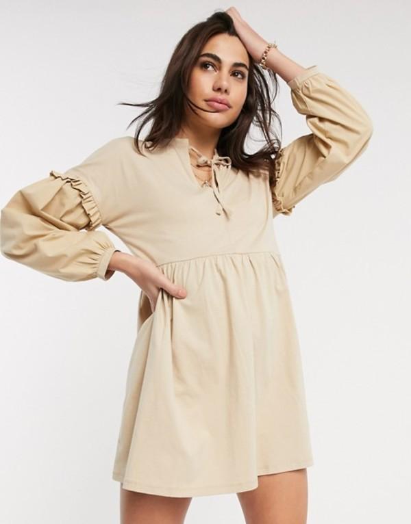 リバーアイランド レディース ワンピース トップス River Island long sleeve poplin tiered mini dress in beige Beige