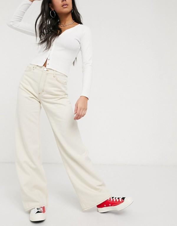 モンキ レディース デニムパンツ ボトムス Monki Yoko wide leg jeans in ecru White