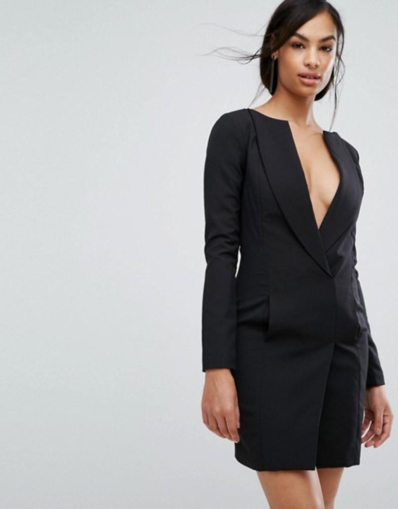 ラビッシュアリス レディース ワンピース トップス Lavish Alice Off The Shoulder Tuxedo Mini Dress Black