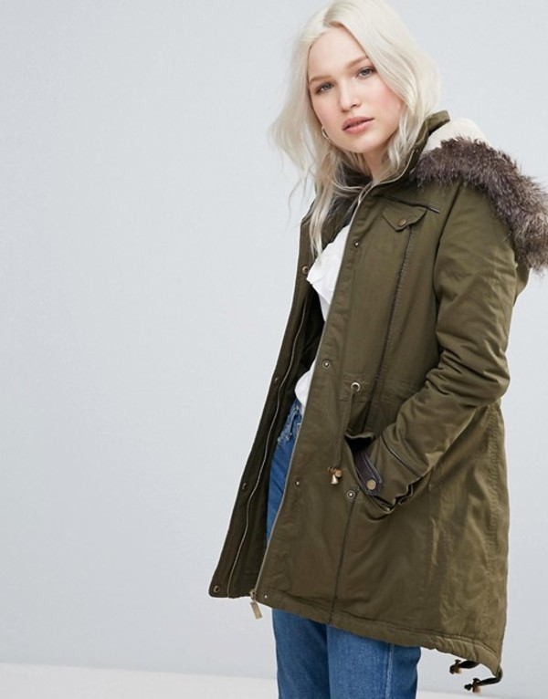 ブレーブソウル レディース コート アウター Brave Soul Parka Coat in Mid Length with Faux Fur Hood Khaki