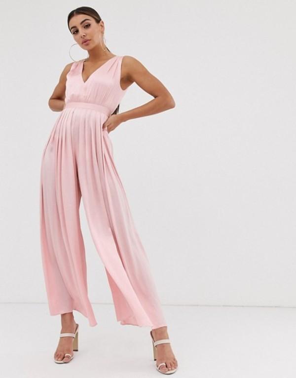ガールコード レディース ワンピース トップス The Girlcode satin pleat jumpsuit Blush