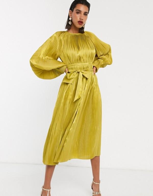 エイソス レディース ワンピース トップス ASOS EDITION pleated blouson sleeve dress Chartreuse