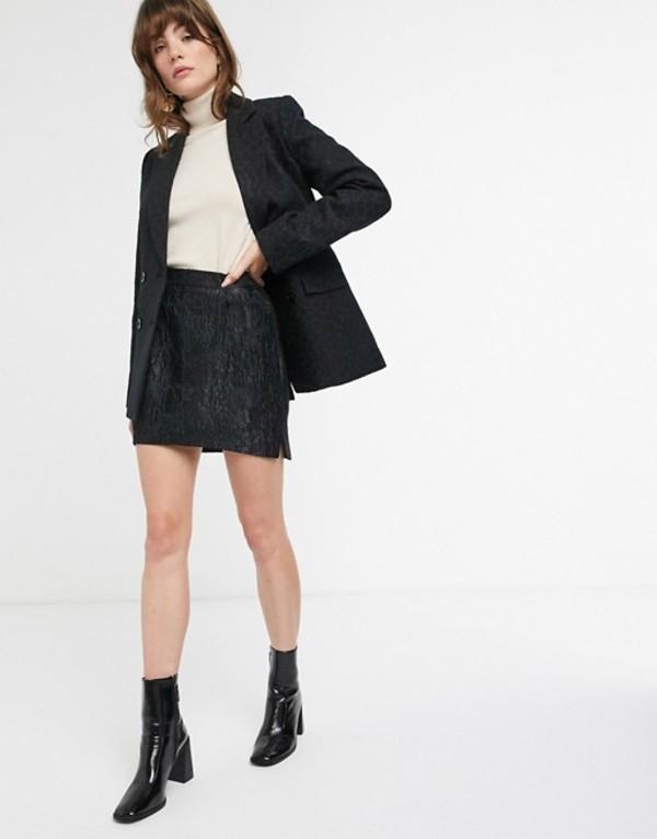 アンドアザーストーリーズ レディース スカート ボトムス & Other Stories jacquard pelmet mini skirt in black Black