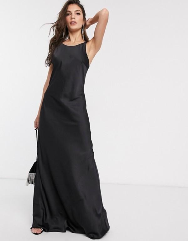 アンドアザーストーリーズ レディース ワンピース トップス & Other Stories round neck maxi slip dress in black Black