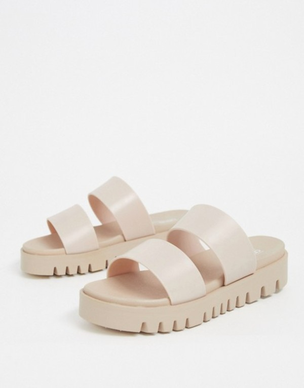 エイソス レディース サンダル シューズ ASOS DESIGN Fletch chunky jelly flat sandals in beige Beige