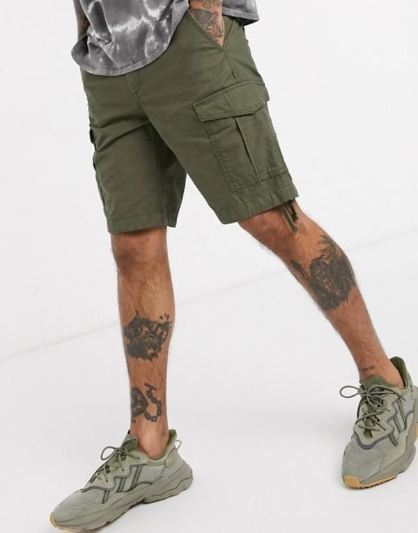 ジャック アンド ジョーンズ メンズ ハーフパンツ・ショーツ ボトムス Jack & Jones Intelligence cargo shorts in khaki Foret night