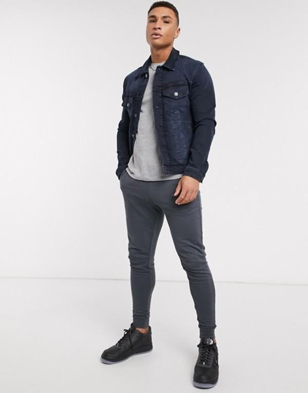 ジャック アンド ジョーンズ メンズ ジャケット・ブルゾン アウター Jack & Jones Intelligence denim jacket in dark wash Blue denim