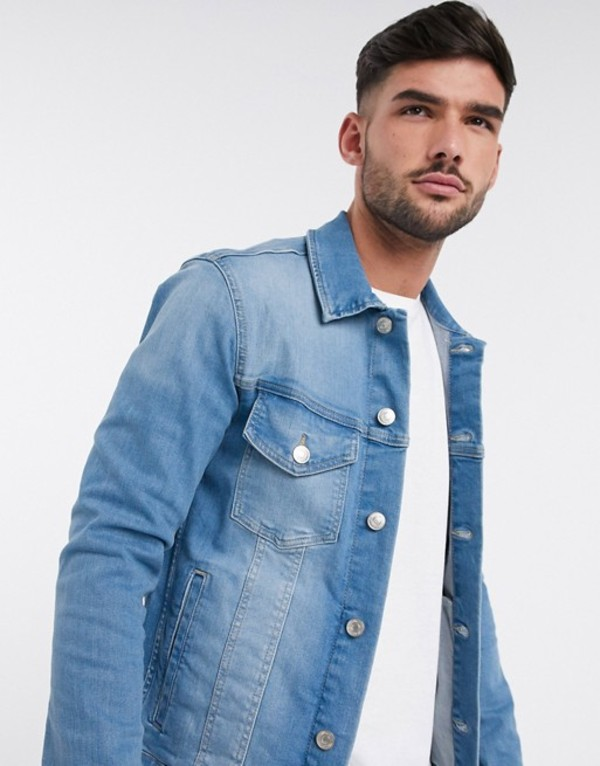 ジャック アンド ジョーンズ メンズ ジャケット・ブルゾン アウター Jack & Jones Intelligence denim jacket in light wash Blue denim