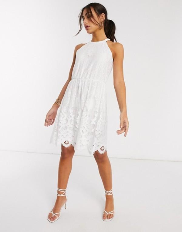 ヴィラ レディース ワンピース トップス Vila mini dress with crotchet detail in white White