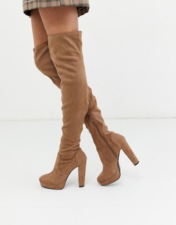 ミスセルフフリッジ レディース ブーツ・レインブーツ シューズ Miss Selfridge over the knee heeled boots in camel Tan