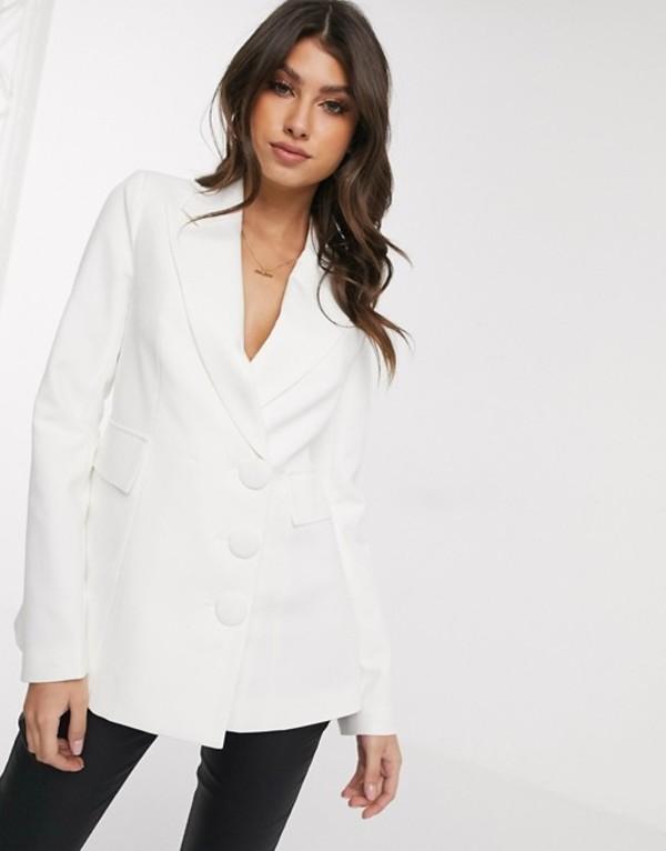 フォース&レックレス レディース ジャケット・ブルゾン アウター 4th + Reckless blazer with open back in white White