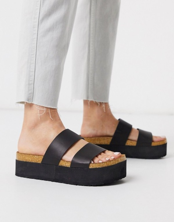 エイソス レディース サンダル シューズ ASOS DESIGN Fiery chunky double strap mule sandals in black Black