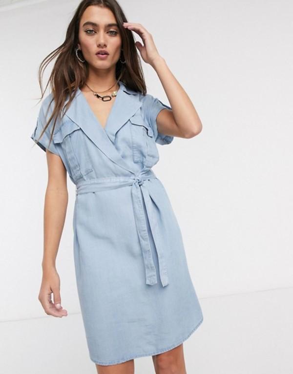 ノイジーメイ レディース ワンピース トップス Noisy May shirt dress with tie waist in chambray blue Blue