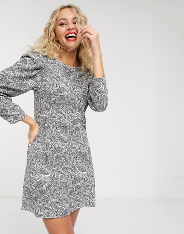 アンドアザーストーリーズ レディース ワンピース トップス & Other Stories paisley print puff-sleeve mini dress in black Paisley