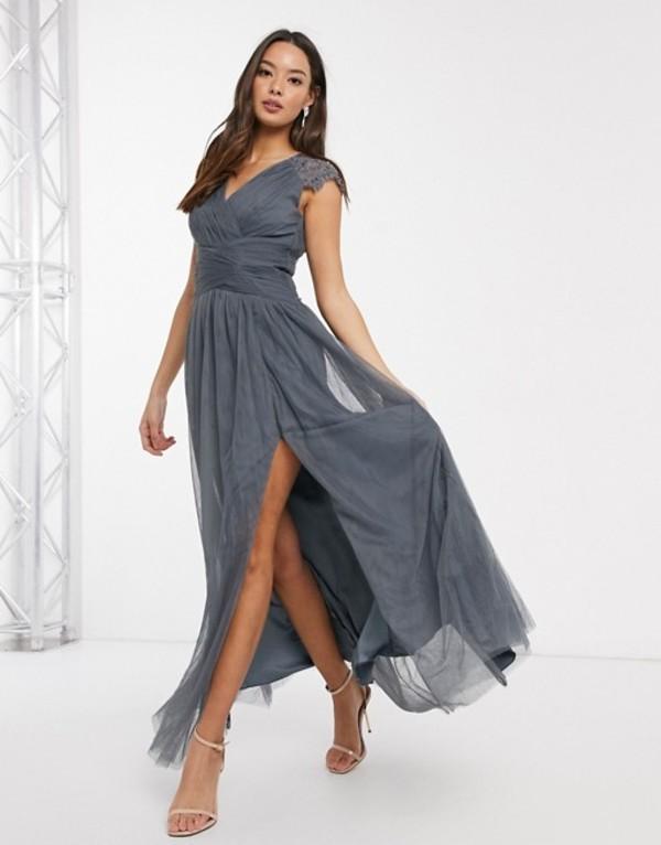 リトルミストレス レディース ワンピース トップス Little Mistress maxi dress in slate gray Dark gray