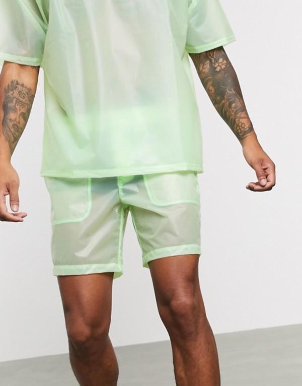 エイソス メンズ ハーフパンツ・ショーツ ボトムス ASOS DESIGN two-piece shorts in sheer green Green