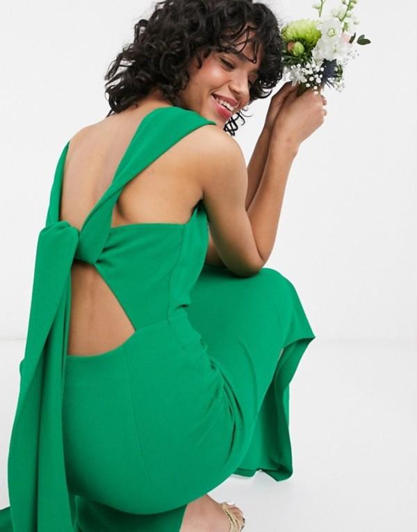 ホイッスルズ レディース ワンピース トップス Whistles bridesmaid tie back maxi dress in green Green