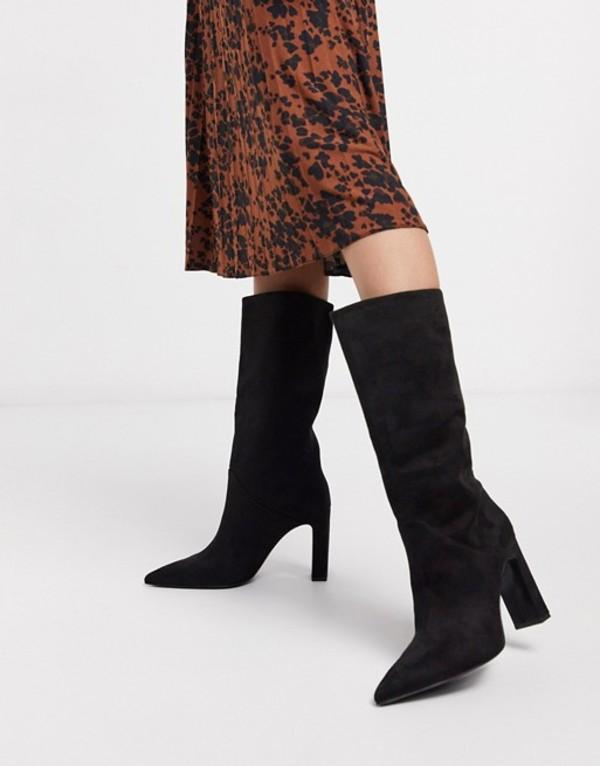 マンゴ レディース ブーツ・レインブーツ シューズ Mango faux suede knee high boots in black Black
