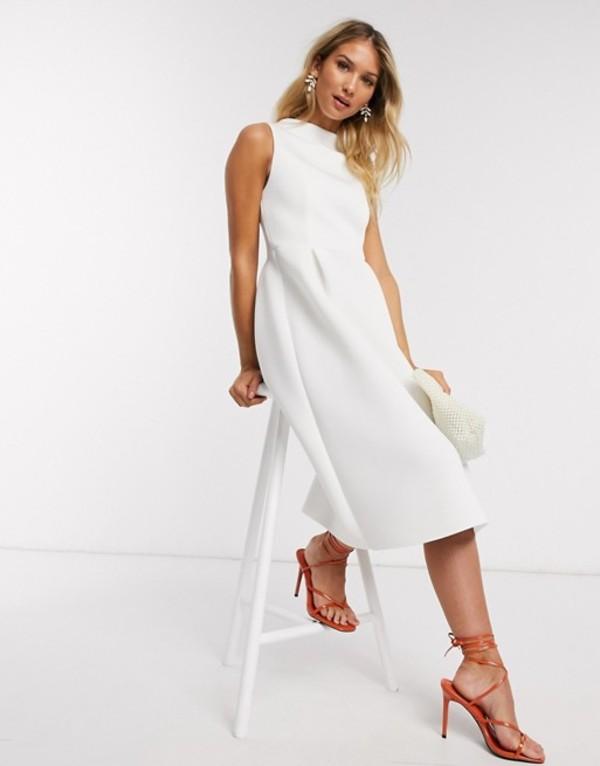 エイソス レディース ワンピース トップス ASOS DESIGN high neck sleeveless midi prom dress with lace up back in white White