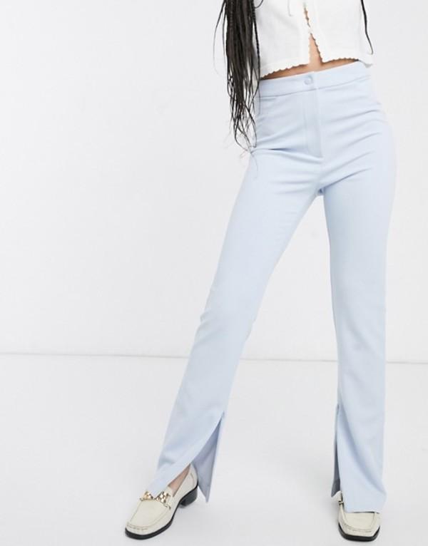 ウィークデイ レディース カジュアルパンツ ボトムス Weekday straight leg split hem pants in light blue Light blue
