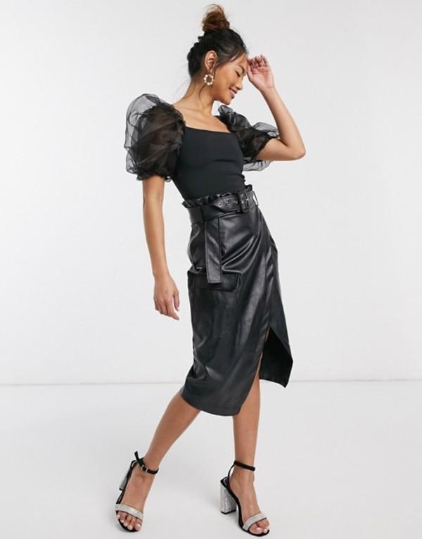 インザスタイル レディース スカート ボトムス In The Style x Billie Faiers pu pocket detail asymmetric pencil skirt with belt in black Black
