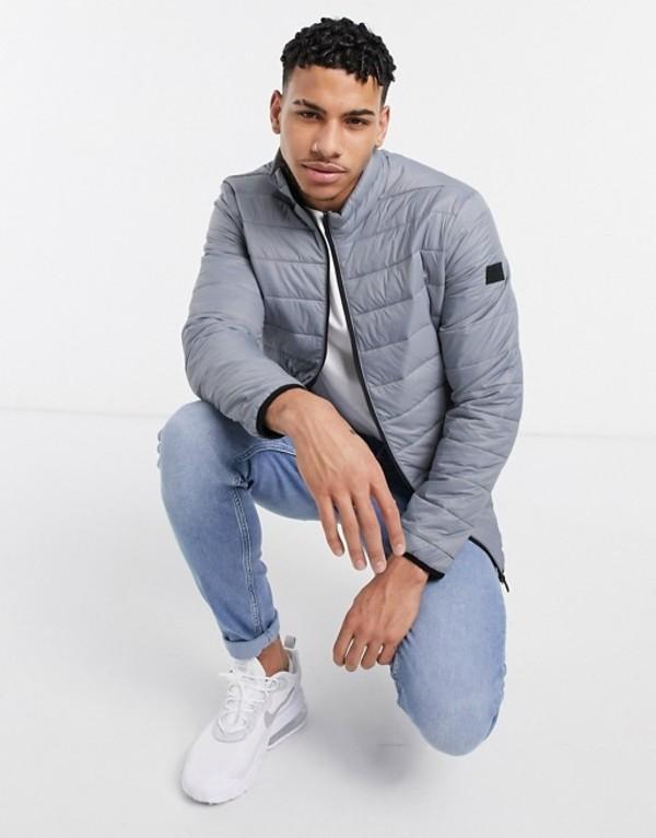 ジャック アンド ジョーンズ メンズ ジャケット・ブルゾン アウター Jack & Jones Essentials puffer jacket with stand collar in charcoal Asphalt:ReVida 店