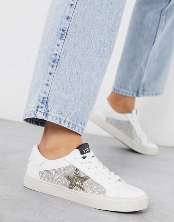 スティーブ マデン レディース スニーカー シューズ Steve Madden Philip sneaker in white with rhinestone trim Rhinestone