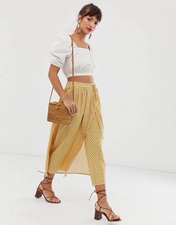 アンドアザーストーリーズ レディース スカート ボトムス & Other Stories midi skirt in yellow geometric print Cannage print