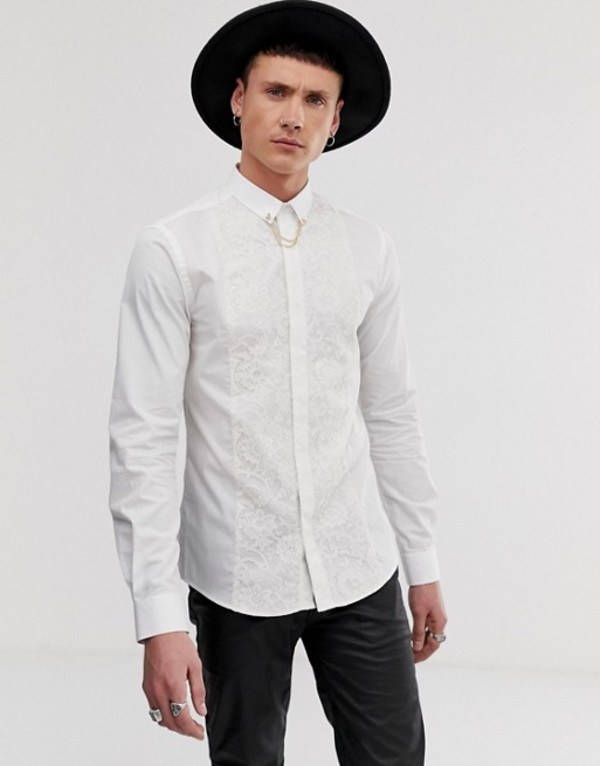 ツイステッド テイラー メンズ シャツ トップス Twisted Tailor super skinny fit shirt with lace panel in white White