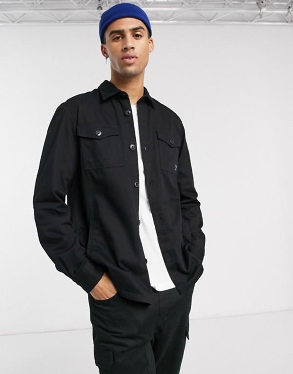 バーブァー メンズ シャツ トップス Barbour Beacon twill overshirt in black Black