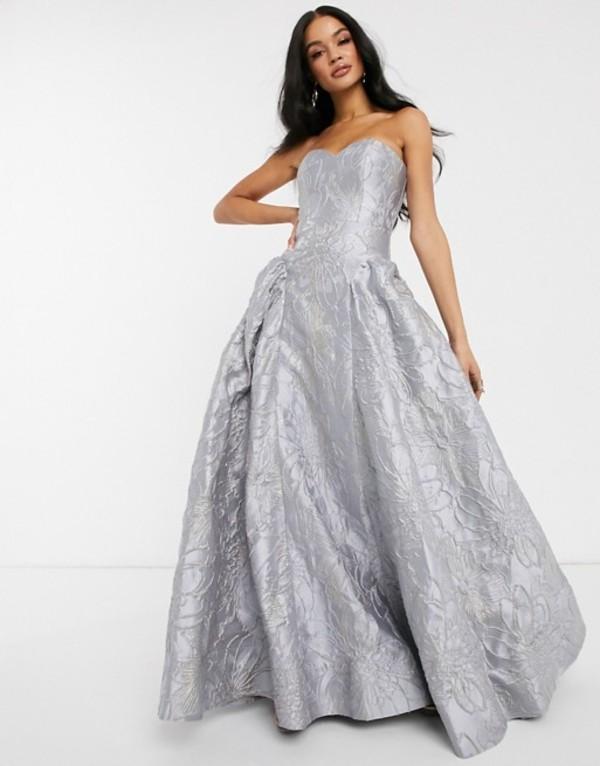 バリアーノ レディース ワンピース トップス Bariano sweetheart neck prom dress in frosty gray Lilacy grey