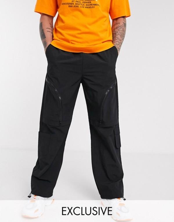 コルージョン メンズ カジュアルパンツ ボトムス COLLUSION nylon utility pants Black