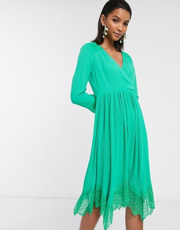 リクオリッシュ レディース ワンピース トップス Liquorish wrap dress with pleated skirt and lace hem in green Green
