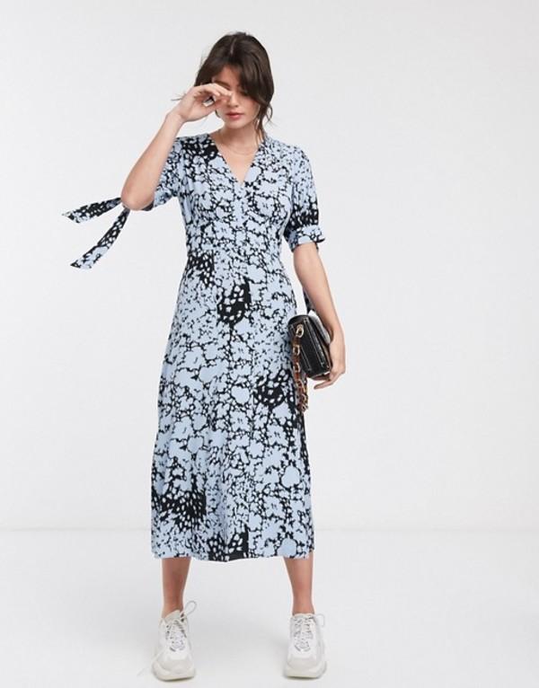 ホイッスルズ レディース ワンピース トップス Whistles brushed animal neave midi dress in blue Blue/mult