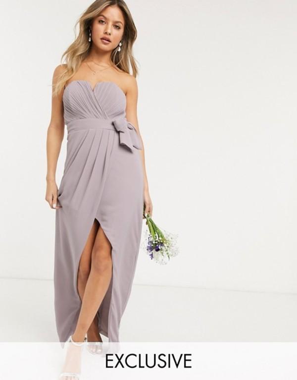 ティエフエヌシー レディース ワンピース トップス TFNC bridesmaid exclusive bandeau wrap midaxi dress with pleated detail in gray Gray