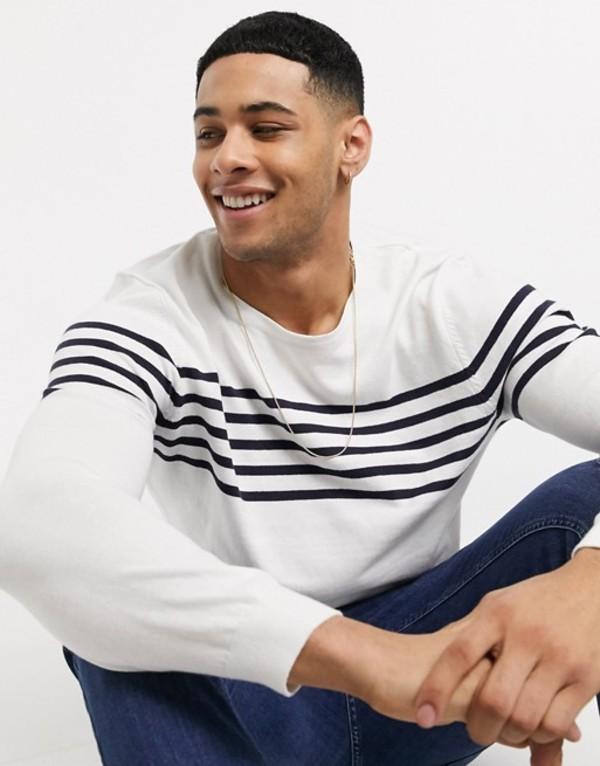 エスプリ メンズ ニット・セーター アウター Esprit stripe sweater in white and navy White