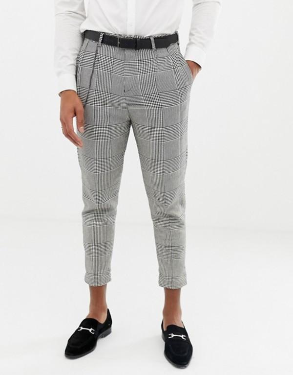 ツイステッド テイラー メンズ カジュアルパンツ ボトムス Twisted Tailor cropped tapered fit pants with pleat in check Black